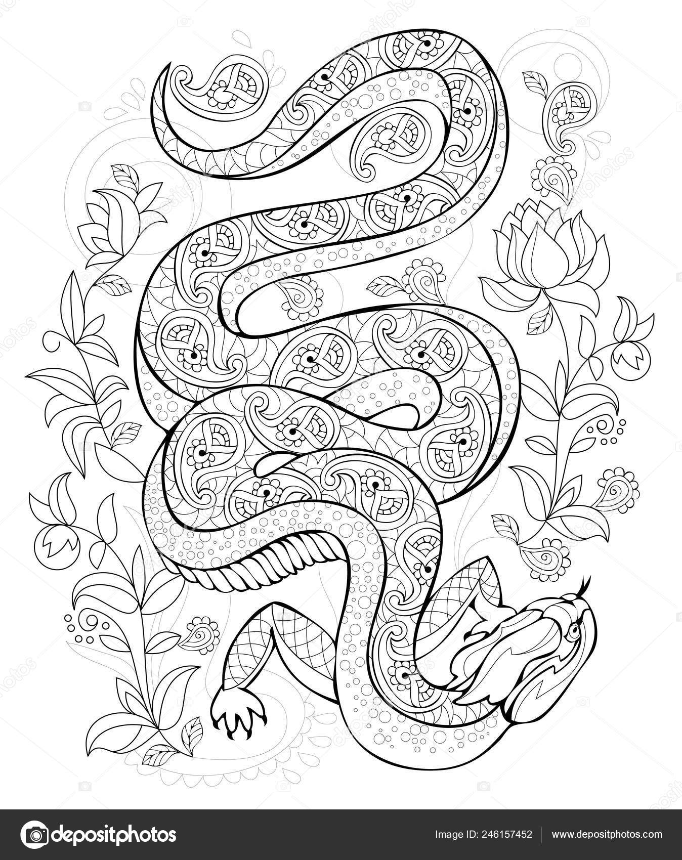 depositphotos stock illustration stylized lizard jungle black white