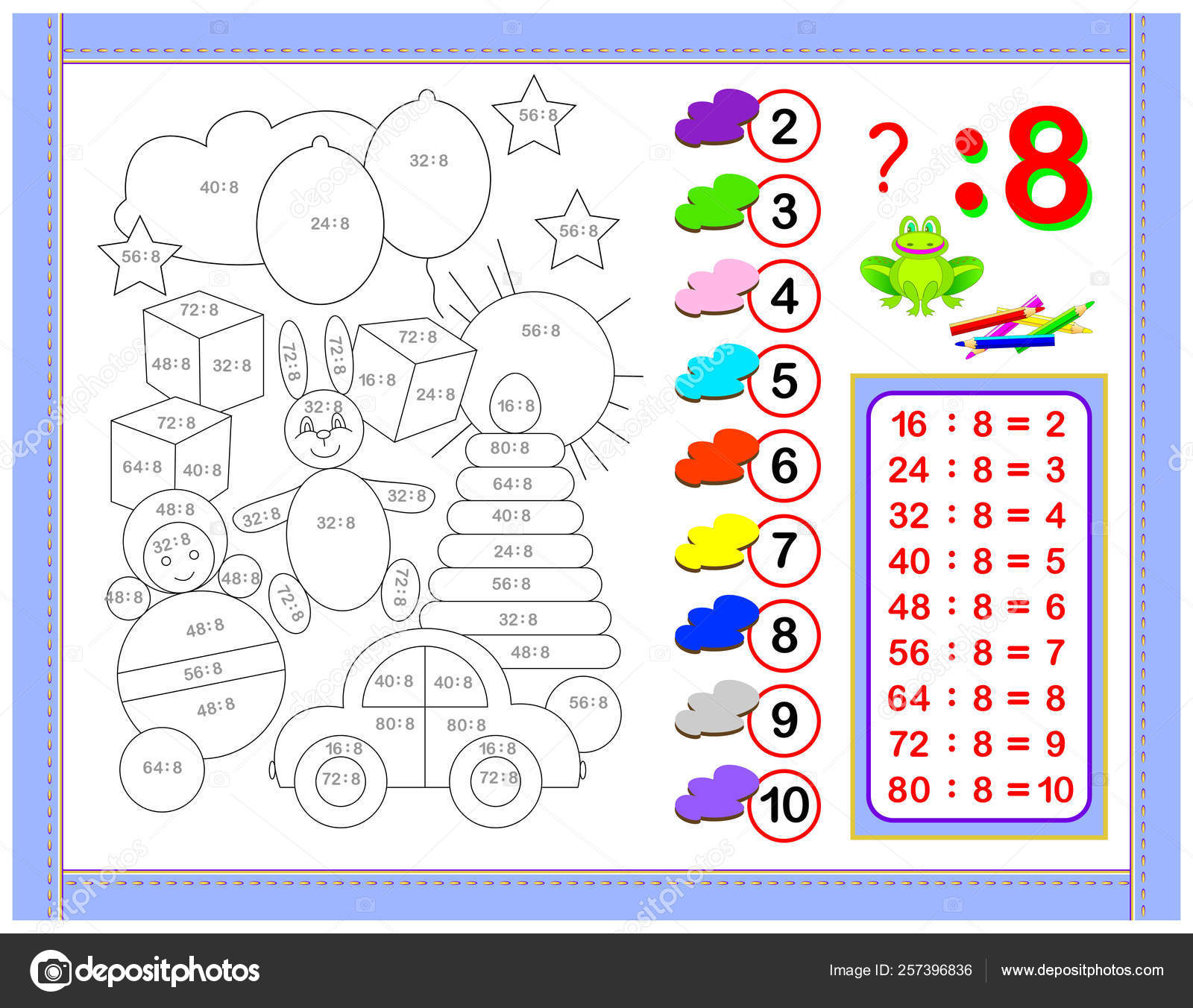 Exercises Kids Division Number Paint Picture Educational
