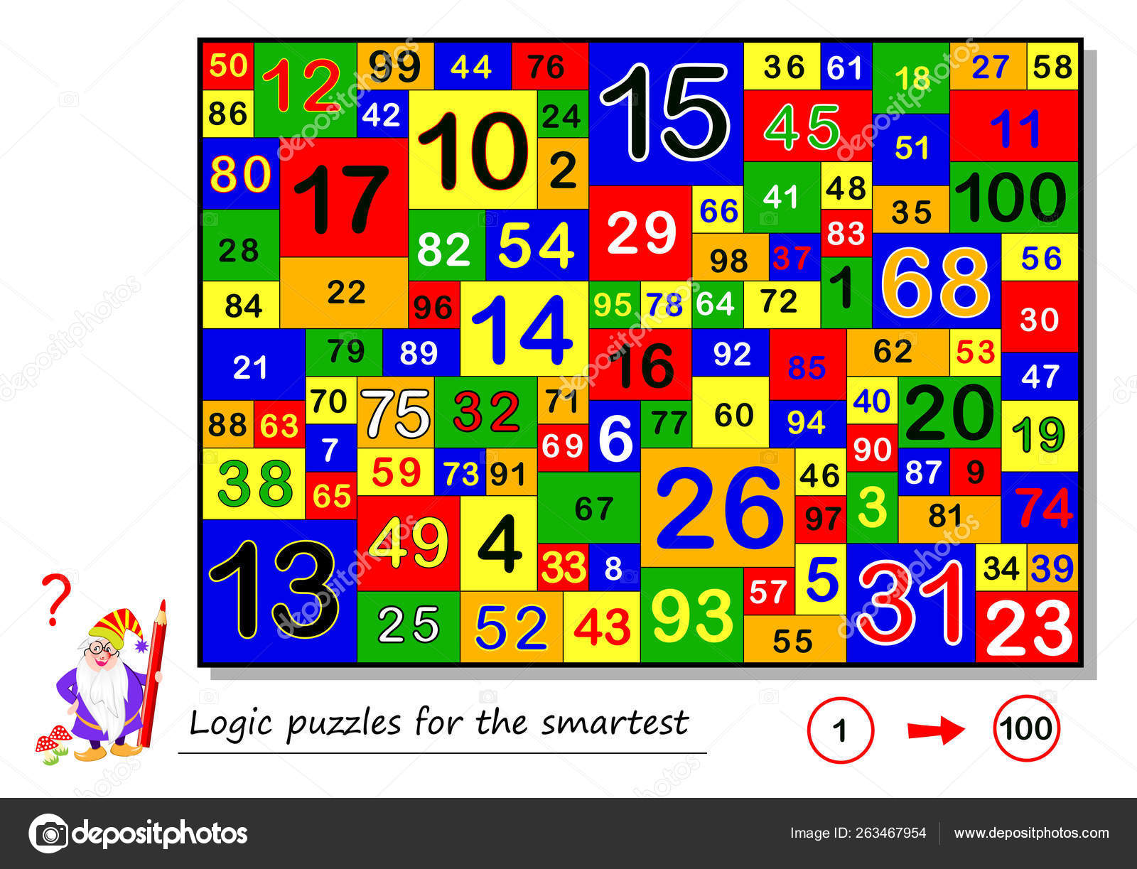Logic Puzzle Game Smartest Find Count All Numbers 100 Task — Stock