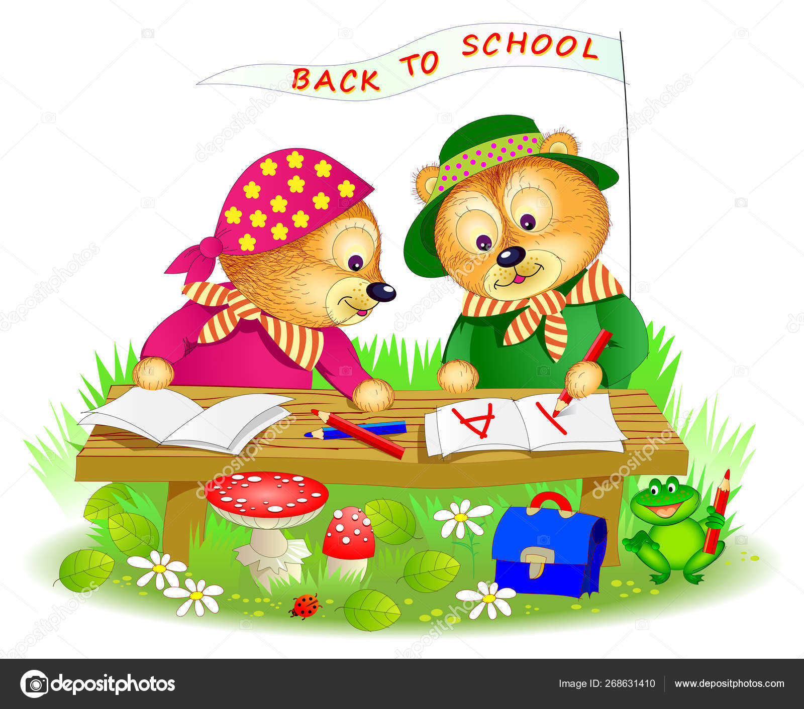 Illustration Two Little Bears Learning Read Write Printable