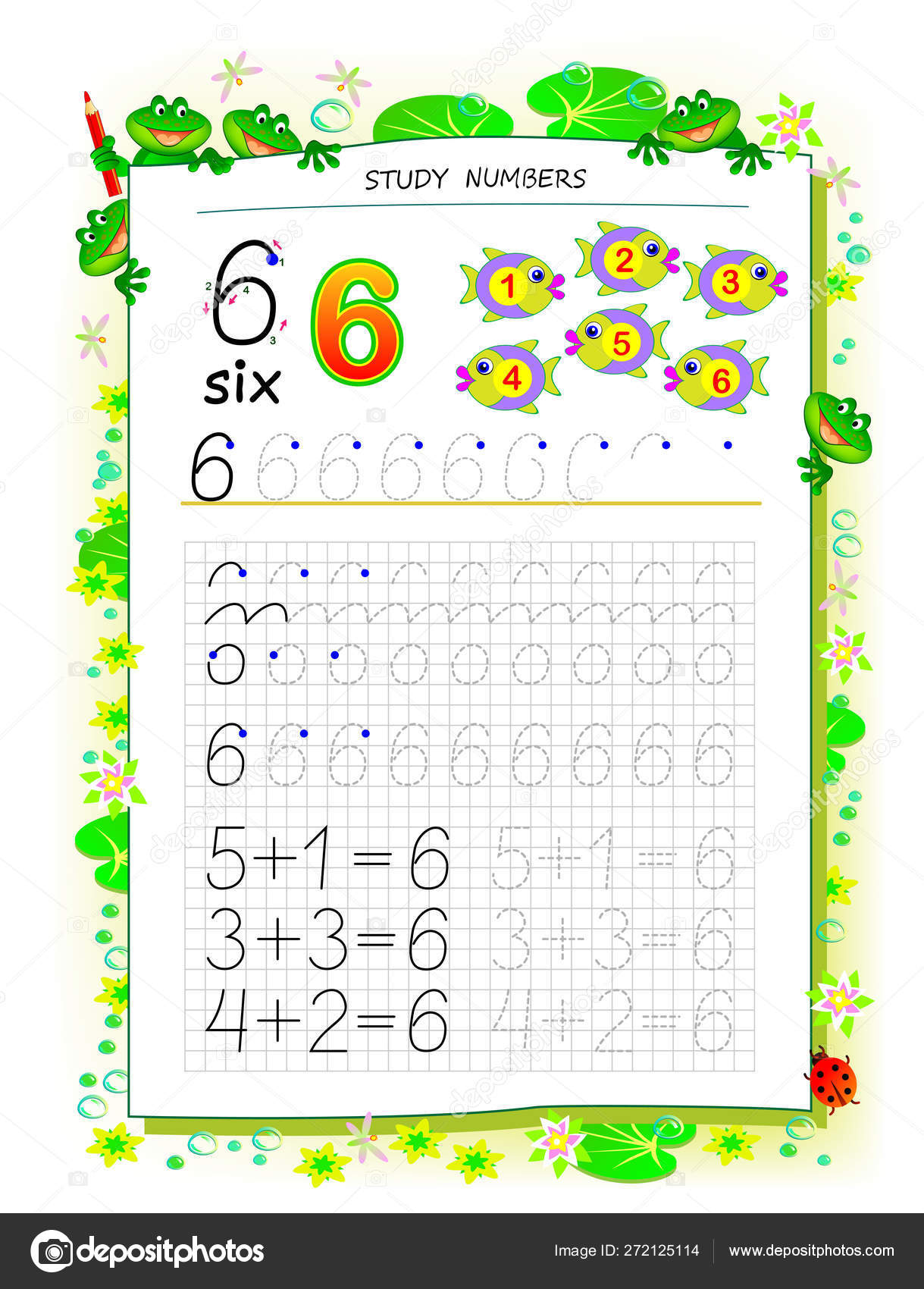 Educational Page Square Paper Kids Number Printable ...