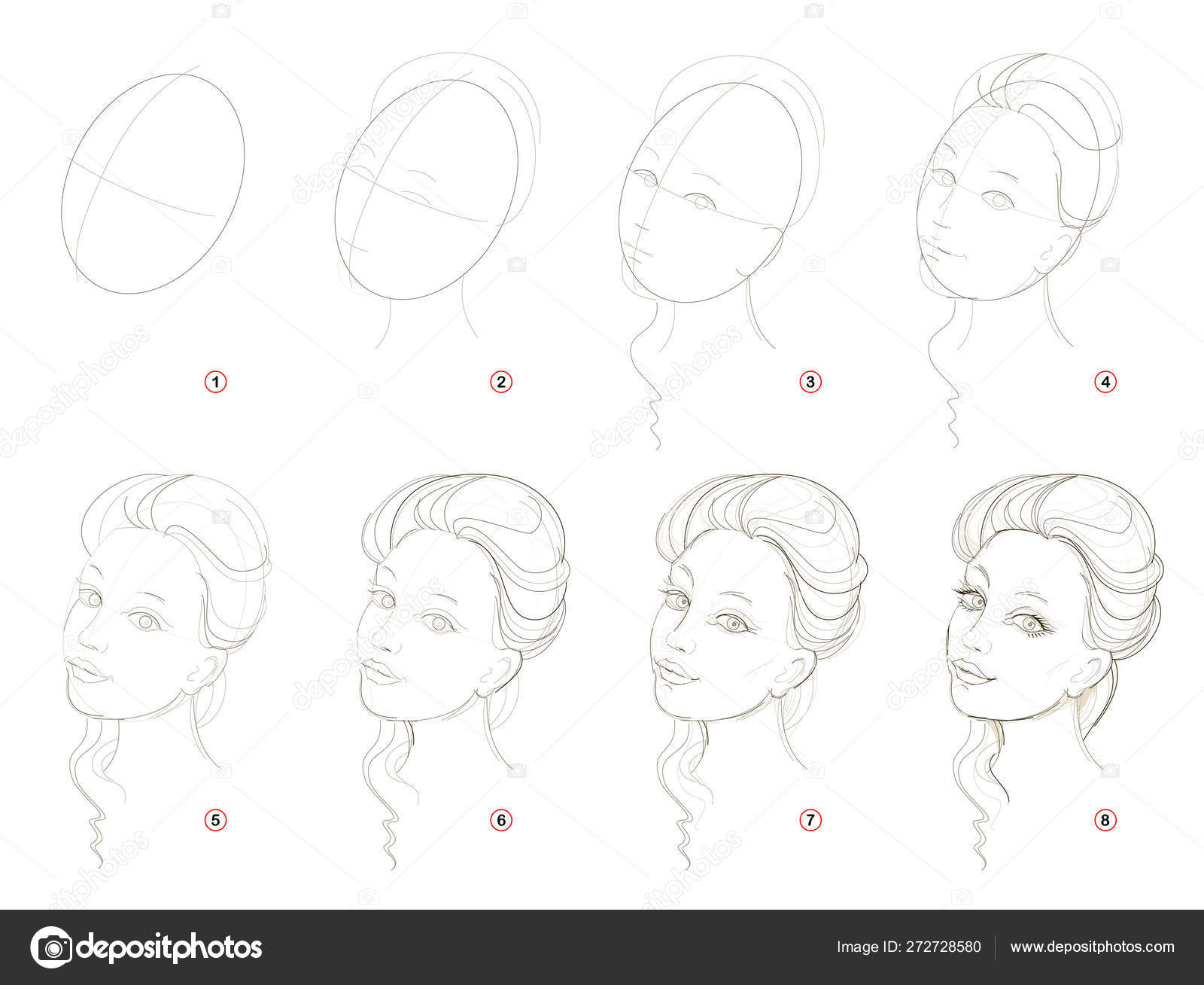 How Create Step Step Pencil Drawing Page Shows How Learn Stock ...