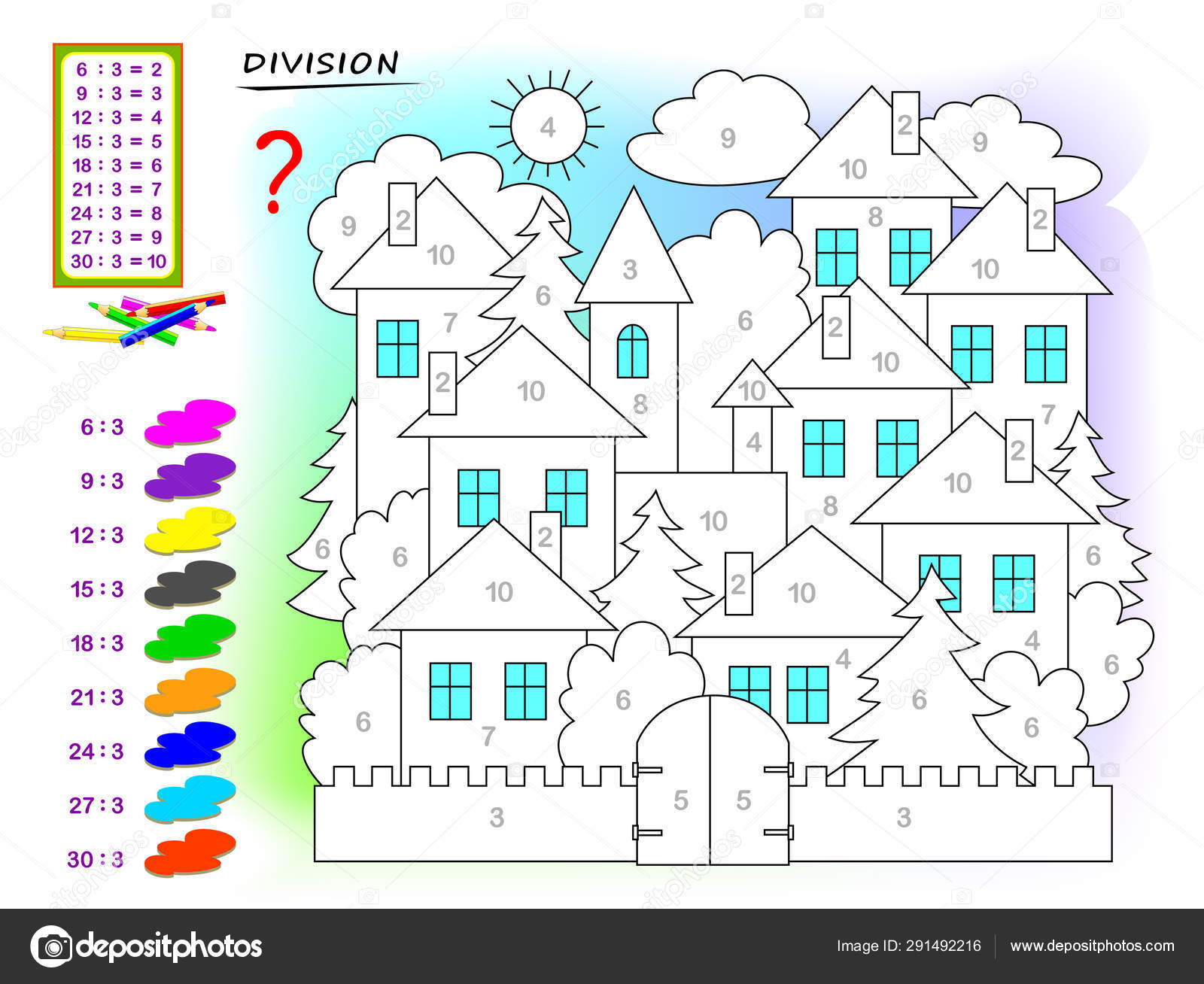Exercises Kids Division Number Paint Picture Educational Page