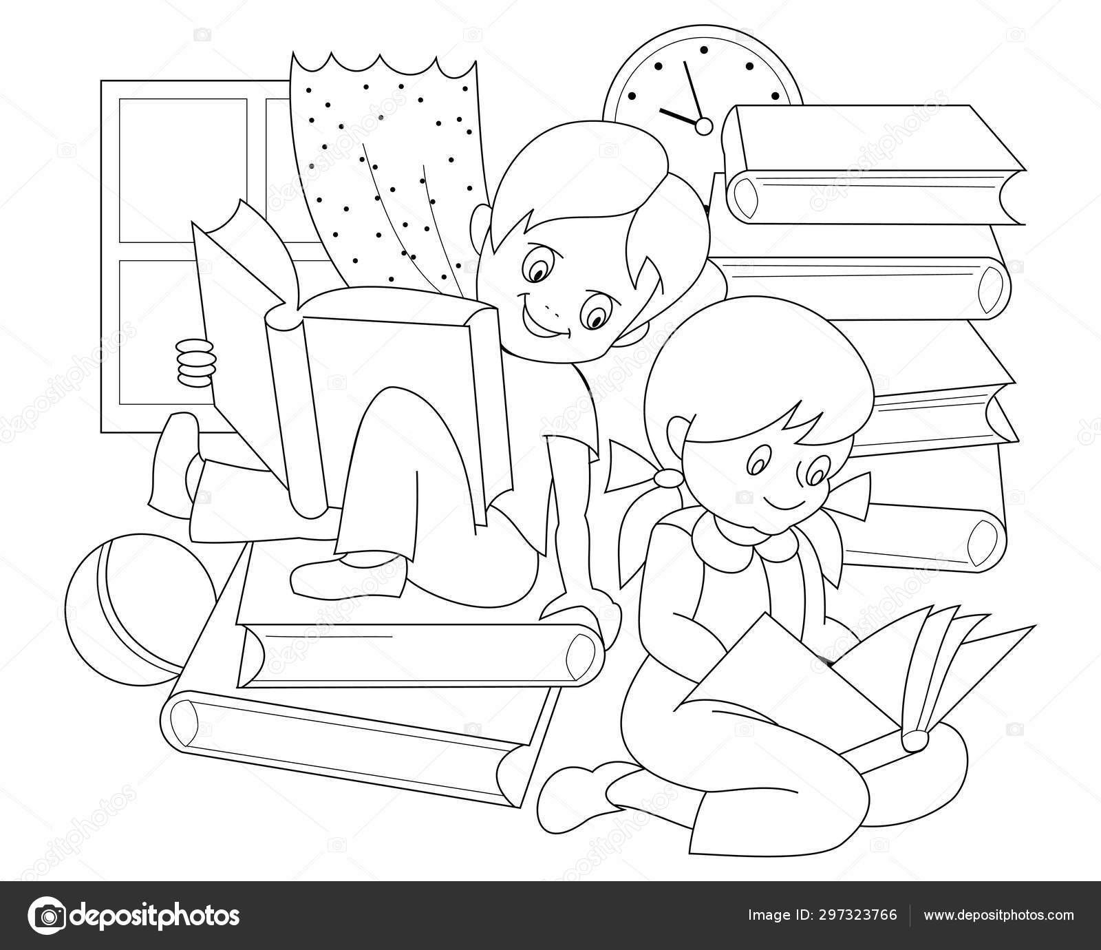 Página Blanco Negro Para Libro Para Colorear Bebé Dibujo
