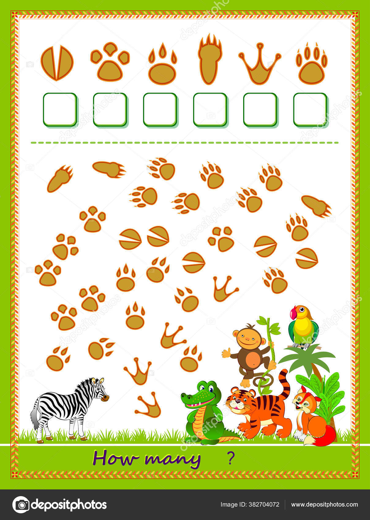 Math Education Children Count Quantity Tracks Left Animals Write Numbers Vector Image By C Nataljacernecka Vector Stock 382704072 [ 1700 x 1208 Pixel ]