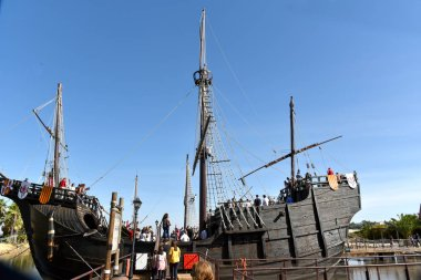 Replica of the caravels of Christopher Columbus, La Rabida, Huelva, Spain, , only editorial use