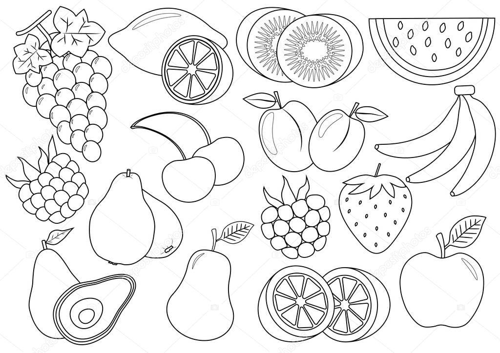 Boyama Kitabı Meyve çilek çizgi Film Simgeler Vektör çizim Stok