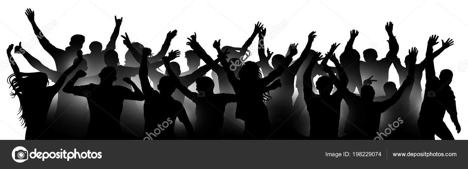 Multitud De Gente Silueta: Multitud Gente Alegre Aplaudiendo Silueta Fiesta Aplausos