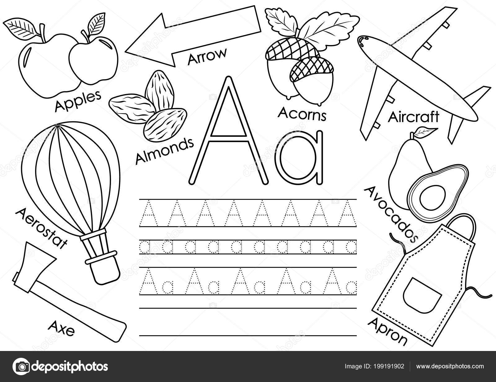 Letter Learning English Alphabet Pictures Writing Practice Children Coloring Book Vector Image By C Irusetka Yandex Ru Vector Stock 199191902