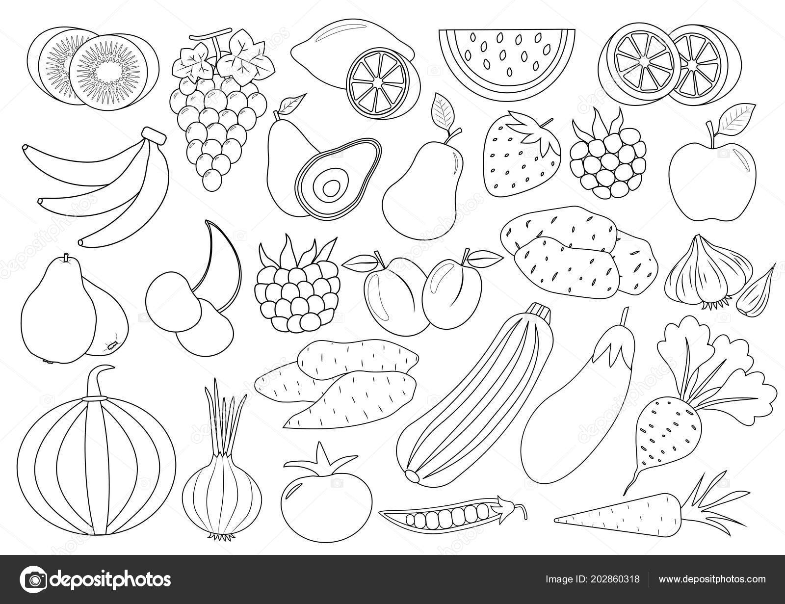Coloring Book Page Fruits Berries Vegetables Cartoon Icon Set