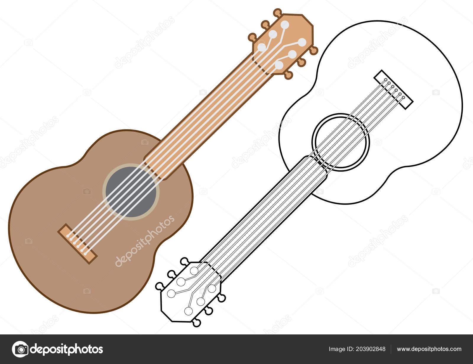 Gitar Müzik Aleti Boyama Kitabı Vektör çizim Stok Vektör