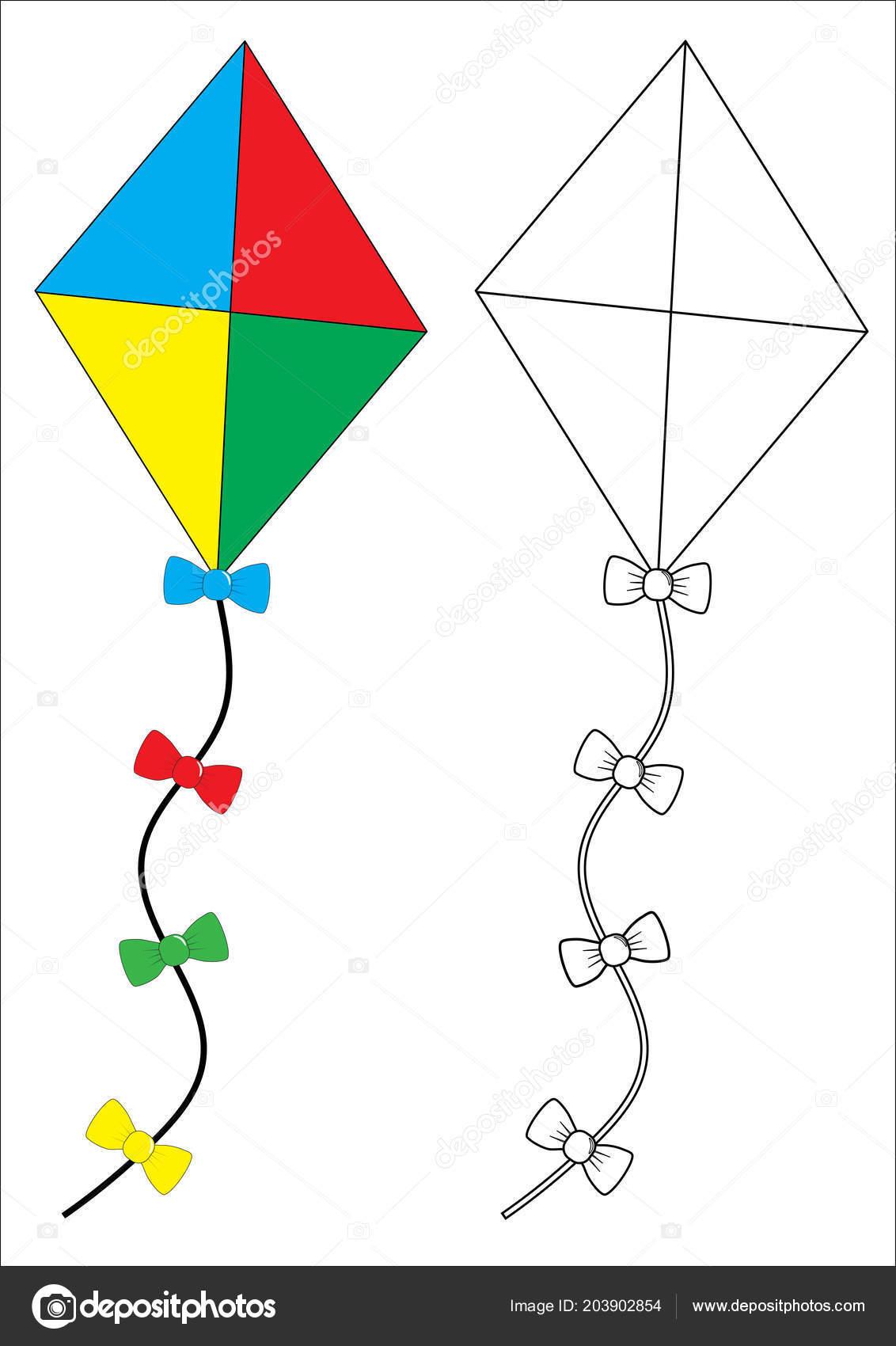 Uçurtma Boyama Kitabı Fid Ler Için Oyun Vektör çizim Stok Vektör