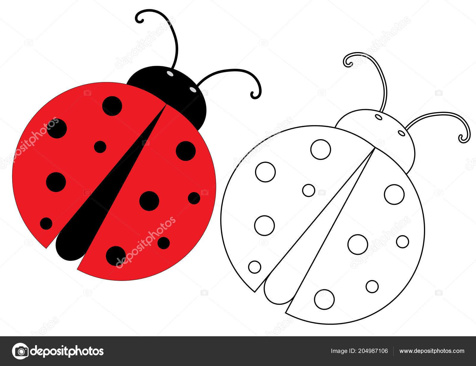 Lieveheersbeestje Kleurplaat Spel Voor Kinderen Vectorillustratie