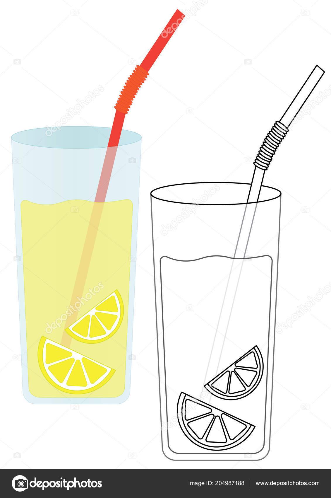 Limonade Mit Zitrone Malvorlagen Spiel Fur Kinder Vektor