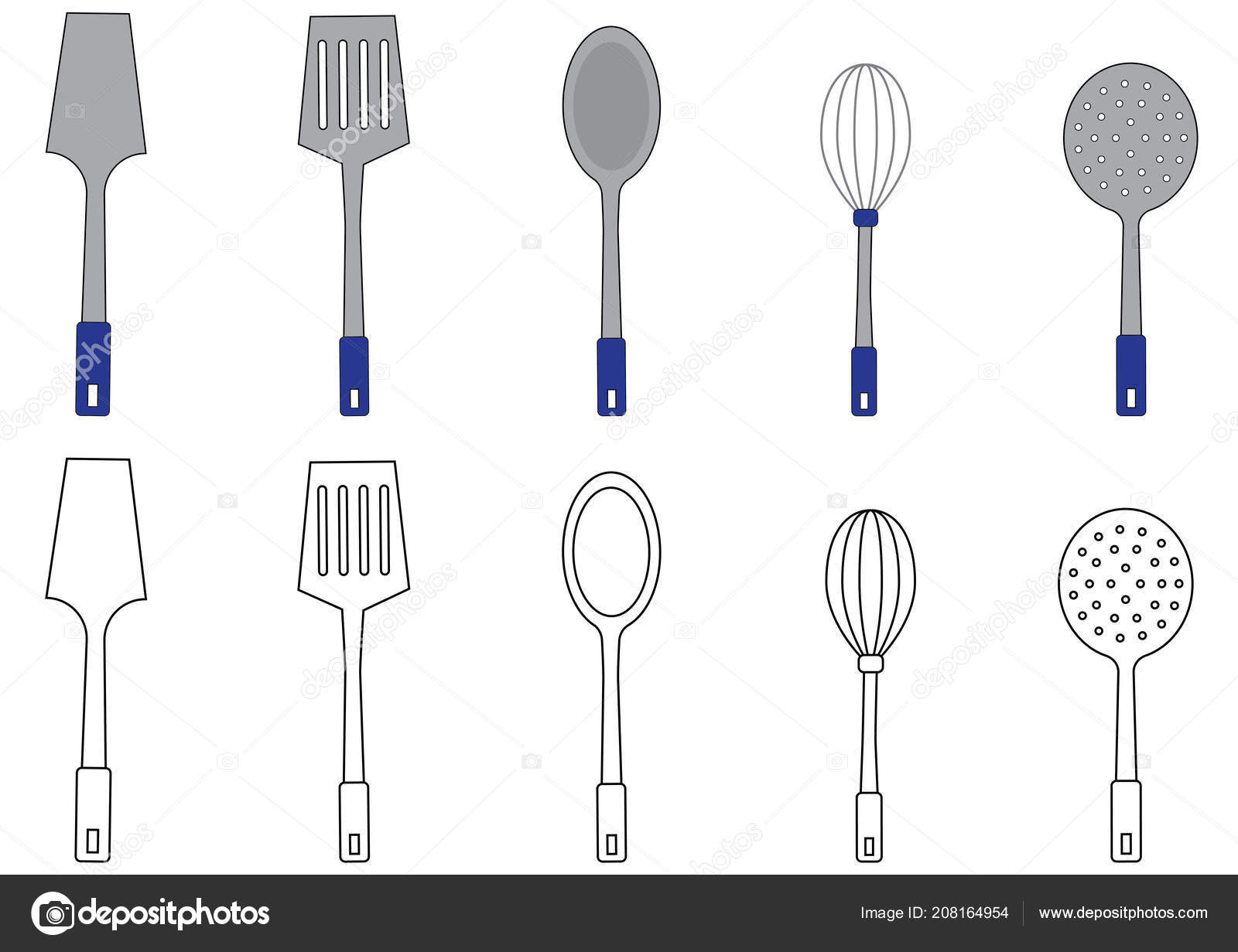 Utensils Coloring Page Vector Illustration Stock Vector