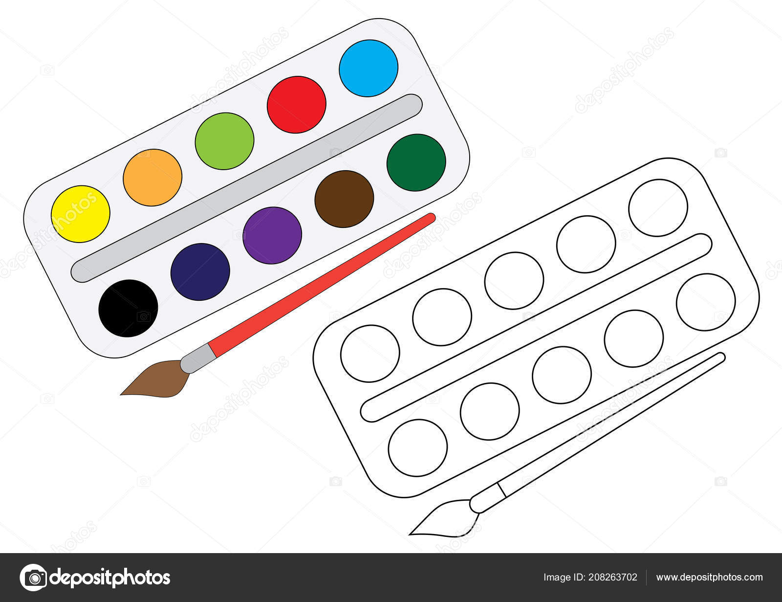 Paint Brush Colouring Pages Watercolor Paint Brush Coloring Page Vector Stock Vector C Irusetka Yandex Ru 208263702