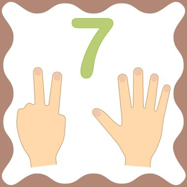 Number 7 (seven), educational card, learning counting with fingers of hand, mathematics. Vector illustration.