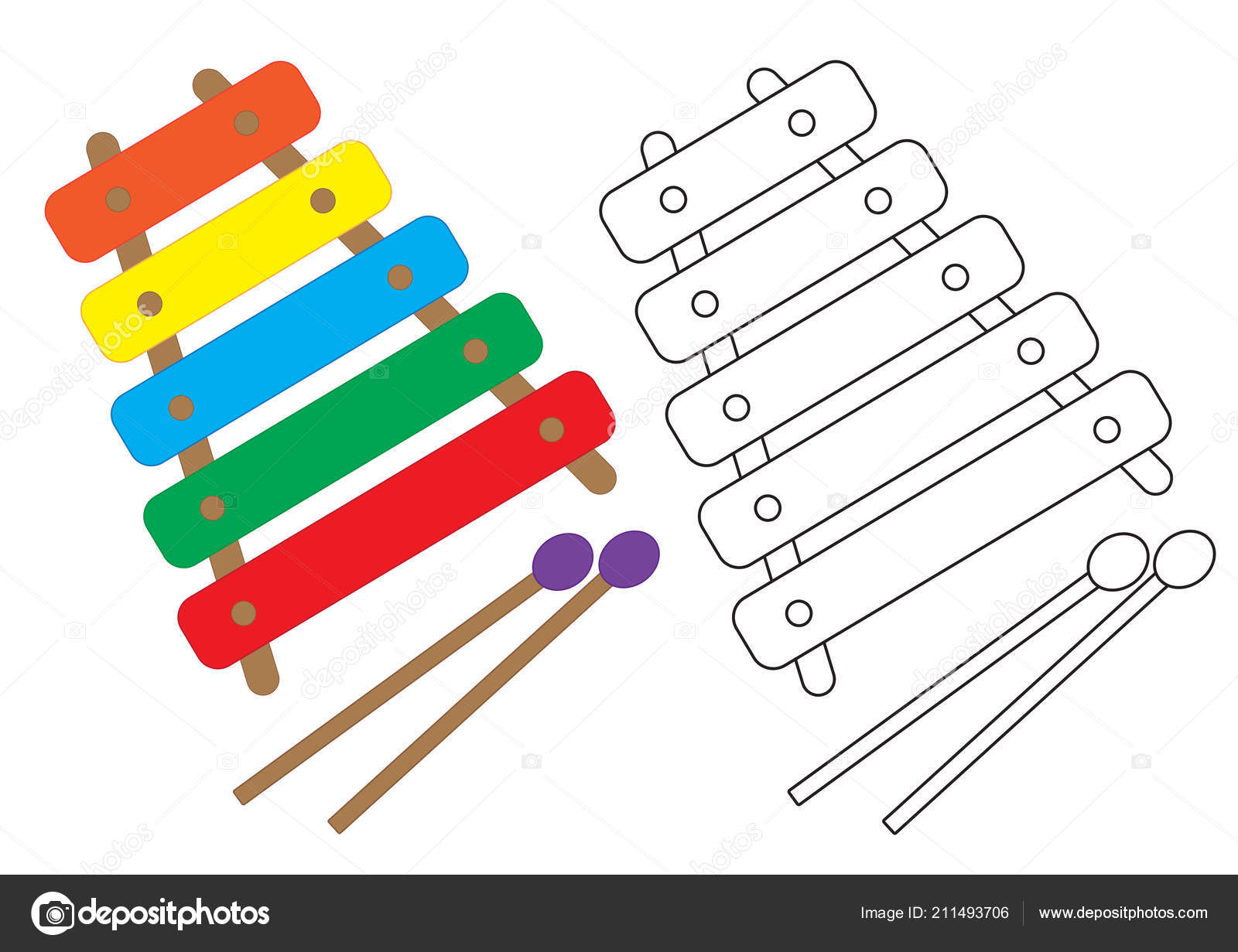 Xylophone Colorful Black White Colors Coloring Page Vector
