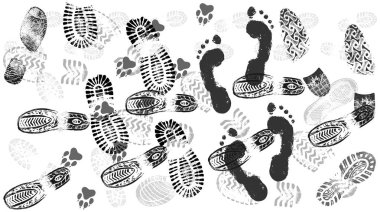 Footprint of shoes on the road, crowds of people, isolated silhouette vector. Trace sole imprint. Footstep, footwear