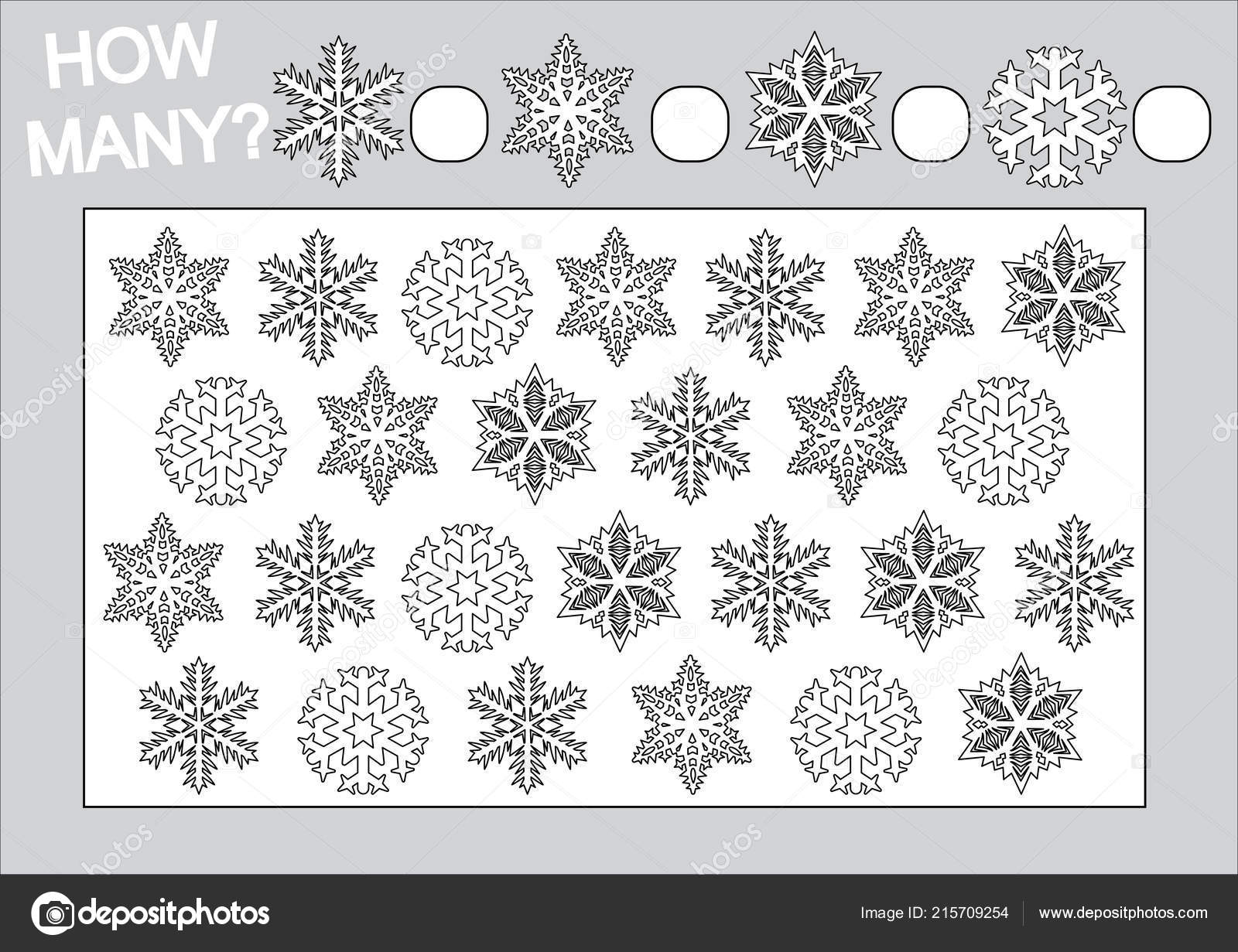 Coloring Book Educational Game How Many Snowflakes Children Vector