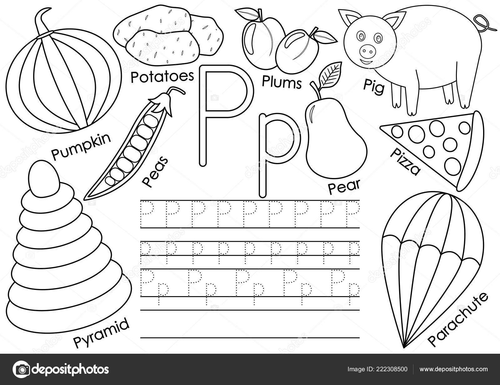 Alfabeto Letra Educación Para Los Niños Práctica Escritura