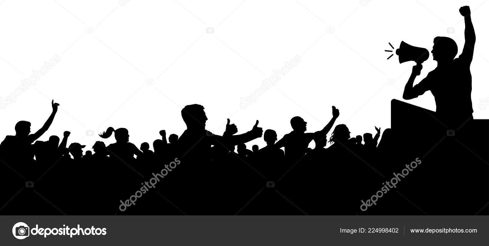 Multitud De Gente Silueta: Multitud Vector Silueta Personas Cabezas Anónimas Altavoz