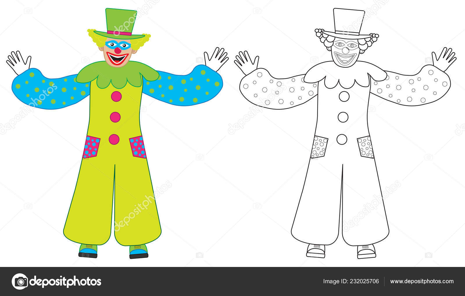 Cheerful Clown Welcomes Colorful Coloring Book Vector Illustration