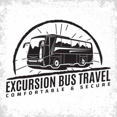 Travel bus vintage emblem
