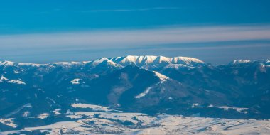 Velka Fatra and western part of Nizke Tatry mountains from Martinske hole in winter Mala Fatra mountains in Slovakia