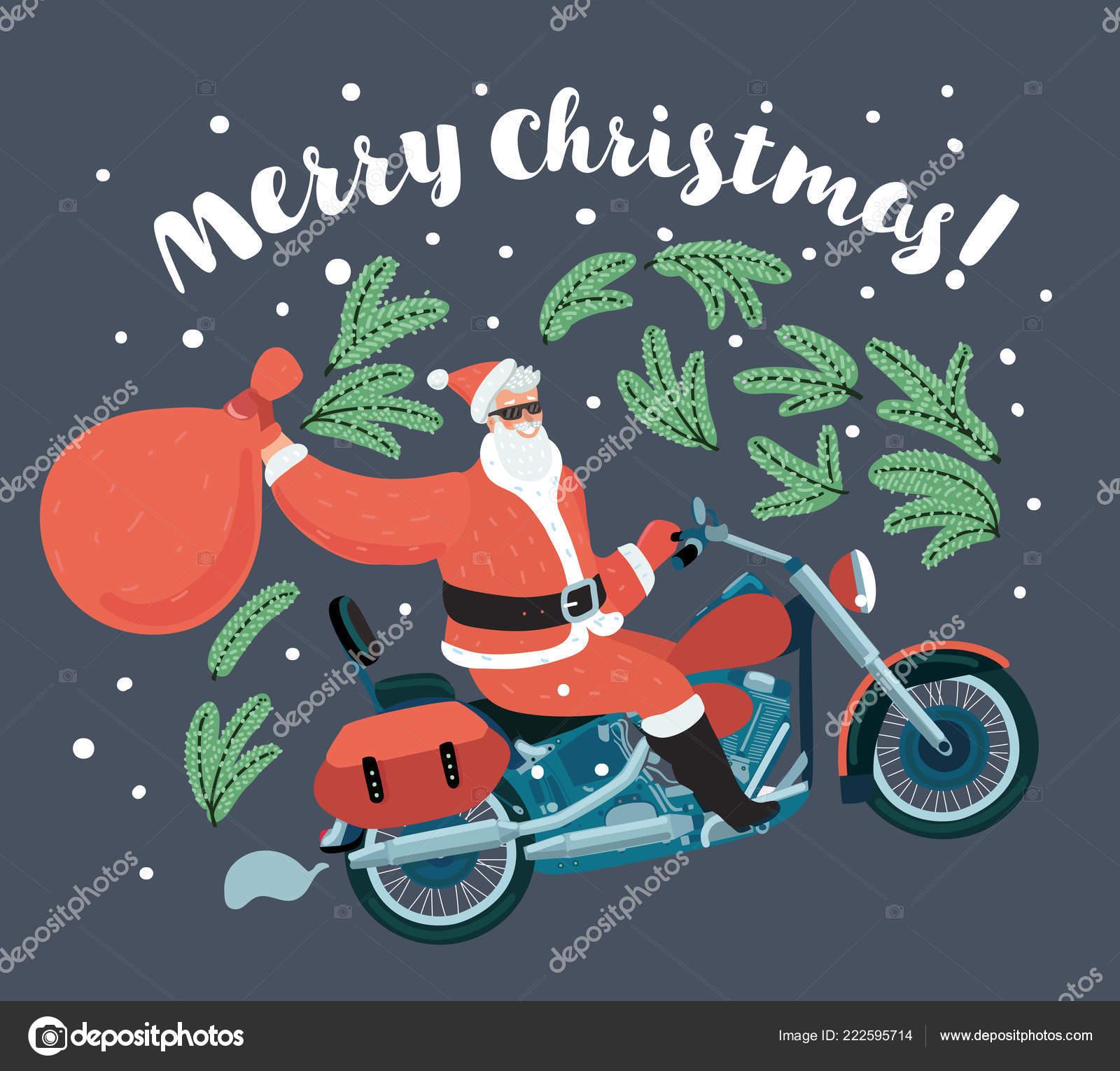 Frohe Weihnachten Motorrad.Santa Claus Tragt Plunderung Geschenke Auf Motorrad