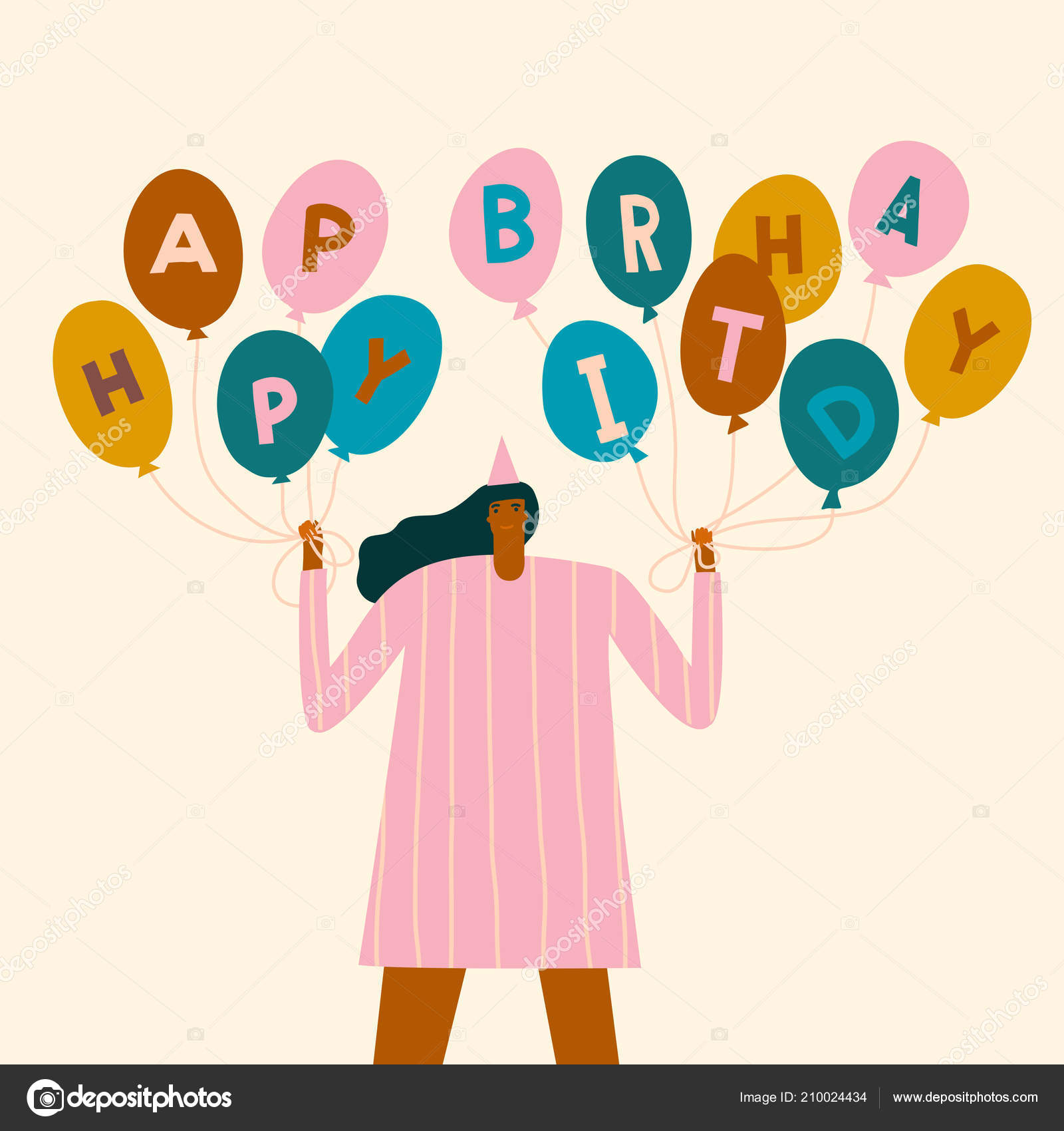 Birthday Card With Women Holding Colourful Balloons Text Quote Happy