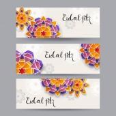 Paper art flowers design. Vector stock.
