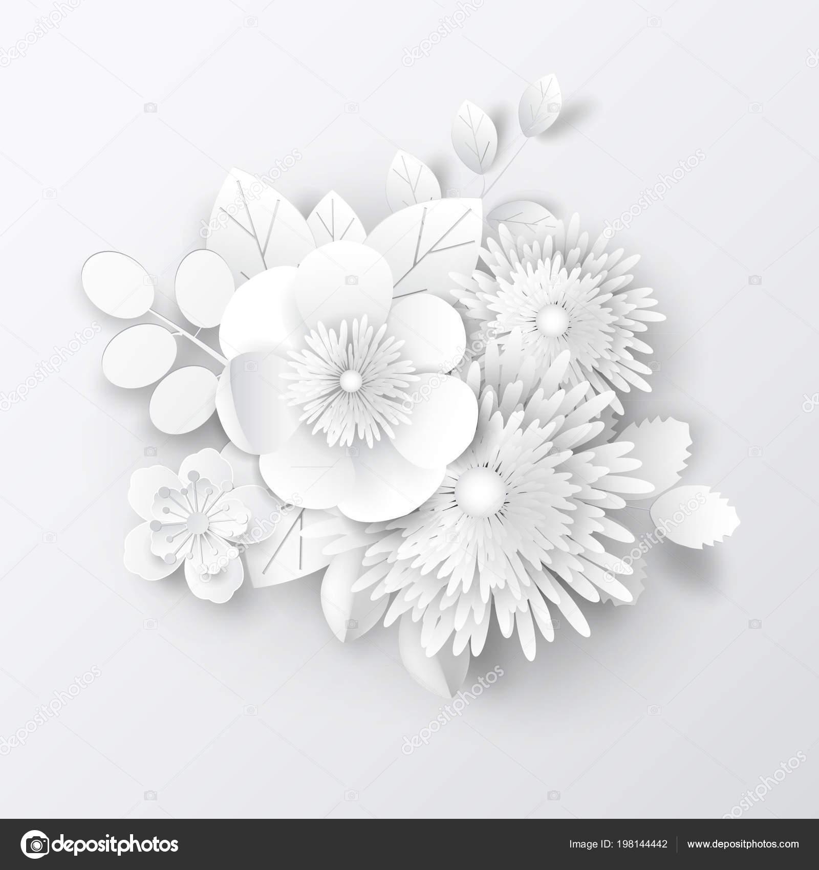 Paper Art Flowers Design Card Brochure Frame Cover Vector Stock