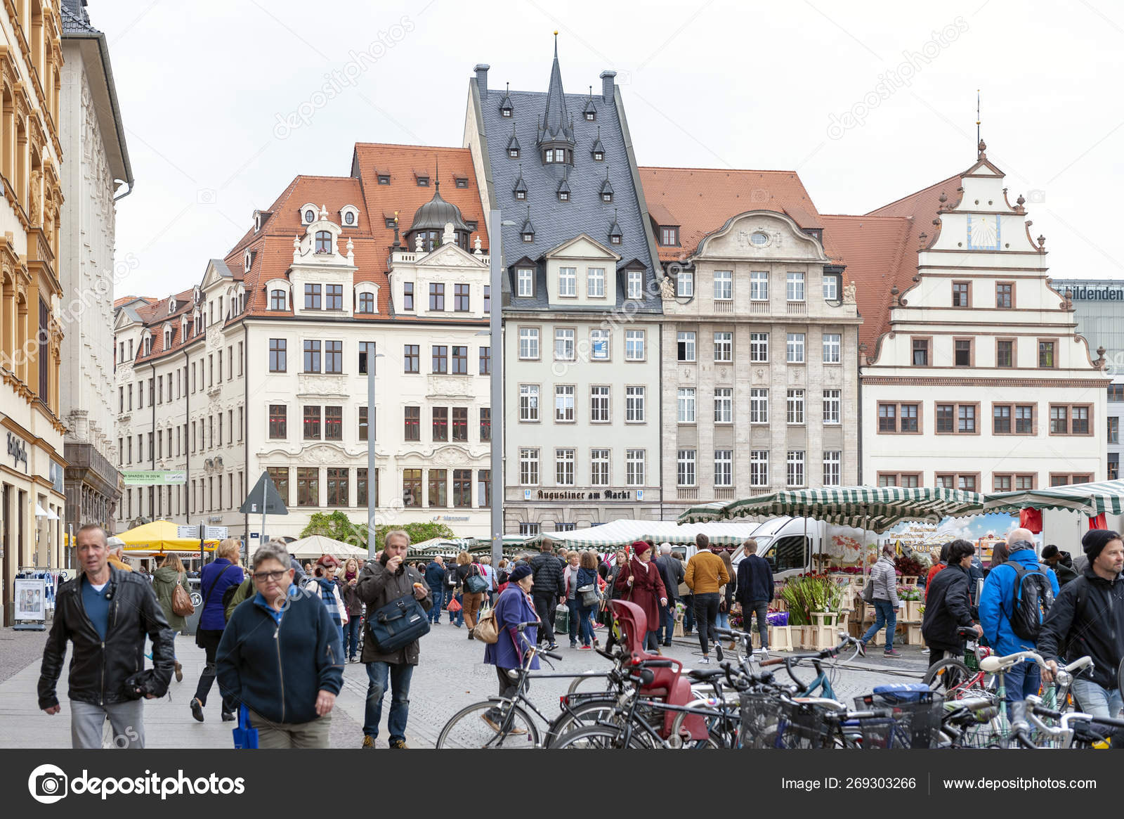 Leipzig Germany October 2018 Crowd At Marktplatz The Market Square In City Centre Of Leipzig In Germany Surrounded By Historic Buildings Stock Editorial Photo C Jiggotravel 269303266