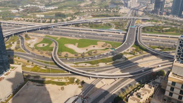 Amazing view of the junction roads from above in Dubai. Traffic on the highway.
