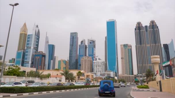 Panoráma města Centrum Dubaje. Krásný mrakodrapy v oblačné počasí