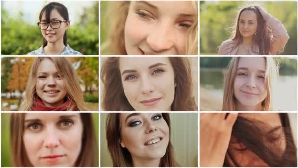 Koláž z devíti mladých mezinárodní krásky z Ruska a Asie vzhledu