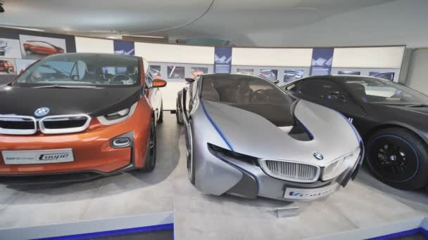 Munich, Germany - August 5, 2018: Exhibition of modern car brands at BMW Museum and BMW Headquarters, Munich, Bavaria, Germany.