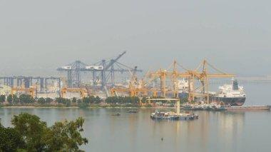 Cargo port in the work. Ha Long Bay. Vietnam.