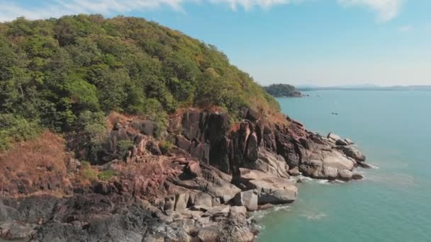 Rocky hills near Butterfly Beach. Goa India. Drone video.