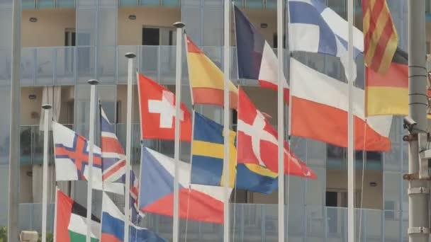 European flags on the street in Calella. Spain.