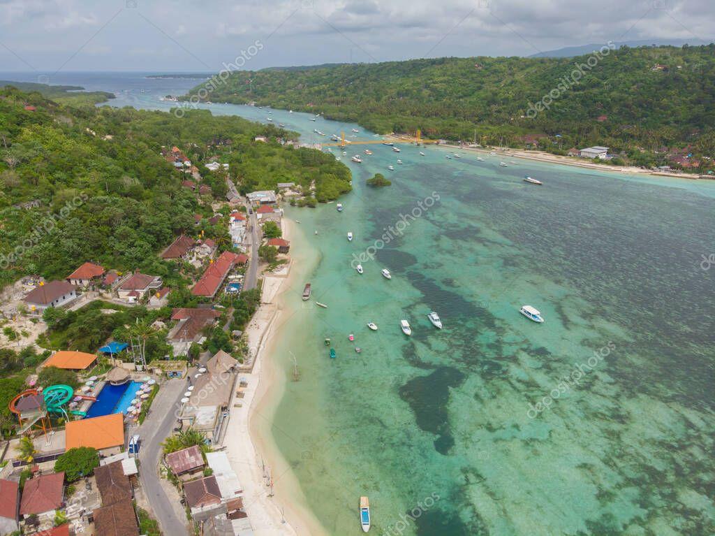 The coast of the village of Lembongan on the island of Nusa Lembongan. Indonesia.