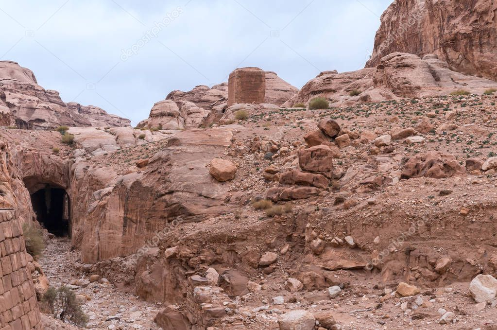 Al-Siq - canyon leading through red-rock walls to Petra - the capital of the Nabatean kingdom in Wadi Musa city in Jordan