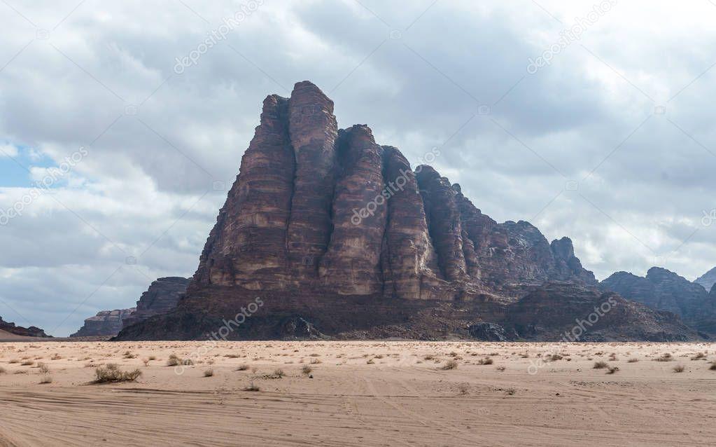 High mountain range in the Wadi Rum desert near Aqaba city in Jordan