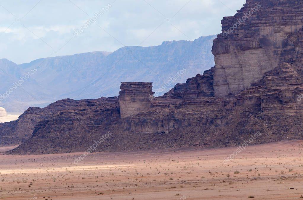 Fascinating beauty of the Wadi Rum desert near Aqaba city in Jordan