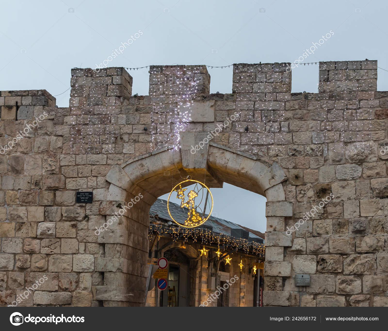 Jerusalén Israel Diciembre 2018 Festivamente Decorado Para