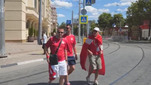 Danish football fans on the streets of Samara