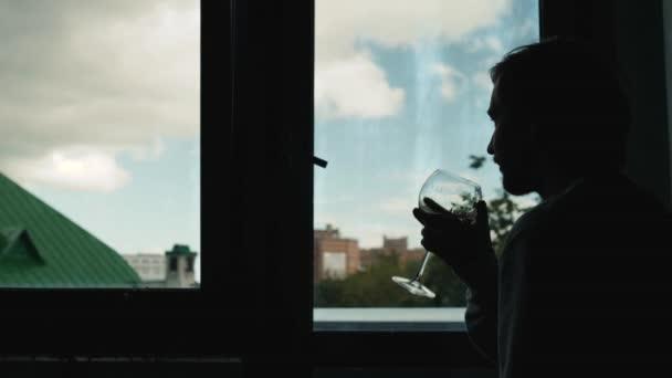 Odborník na víno testování víno se muž v silueta