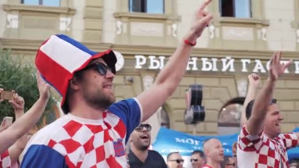 Russia, Nizhny Novgorod, 21 June 2018. Fans from Croatia and Mexico in the center of city in national costumes. The period of the international FIFA world Cup 2018 in Russia.