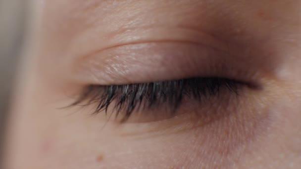 Zblízka pohled na krásné modré ženské oko. Dobrý zrak, kontaktní čočky makro